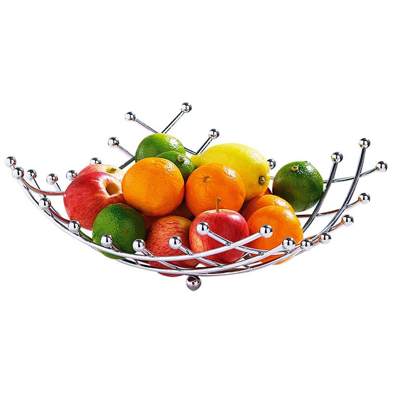 CORBEILLE A FRUITS METAL GRIS KELA DIAM 26.5 CM HAUT 24.5 CM protège des insecte