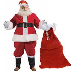 Déguisement de Père Noël Luxe + Hotte - 10 Pièces