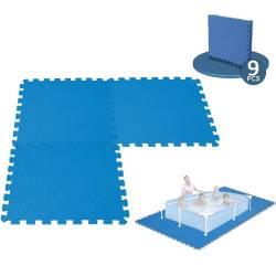 9 Dalles Tapis de Sol modulable pour piscine - 50 cm x 50 cm
