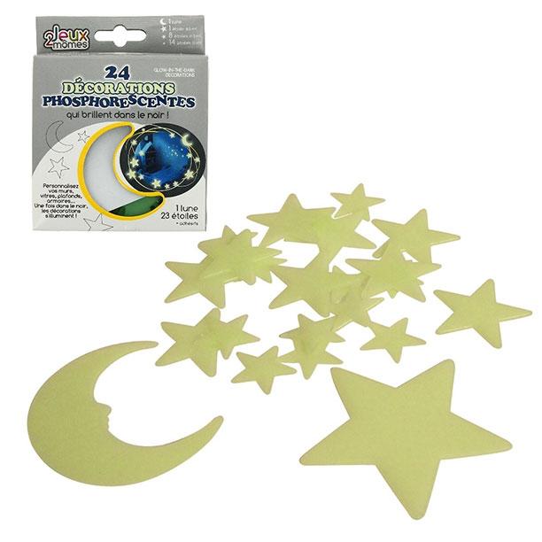 24 d corations phosphorescentes toiles plan tes lune - Etoiles phosphorescentes plafond ...