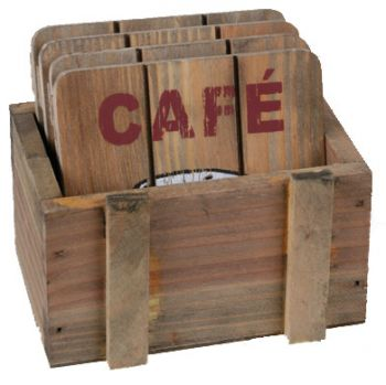 4 dessous de verre caf en bois avec bo te. Black Bedroom Furniture Sets. Home Design Ideas