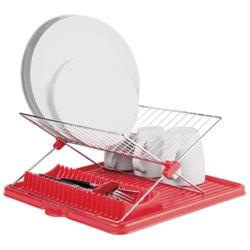 Egouttoir à Vaisselle Pliable en Métal Chromé