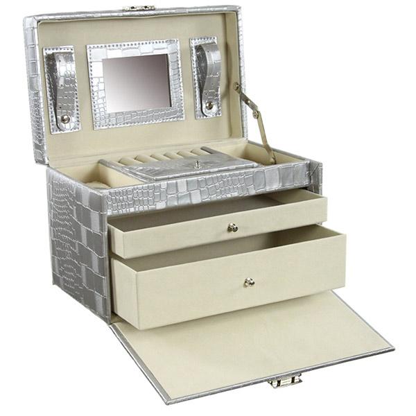 grande boite de rangement pour les bijoux coloris argent. Black Bedroom Furniture Sets. Home Design Ideas