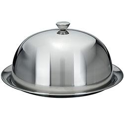 Grande Cloche Couvre Assiette Maitre d'Hotel Inox avec assiette