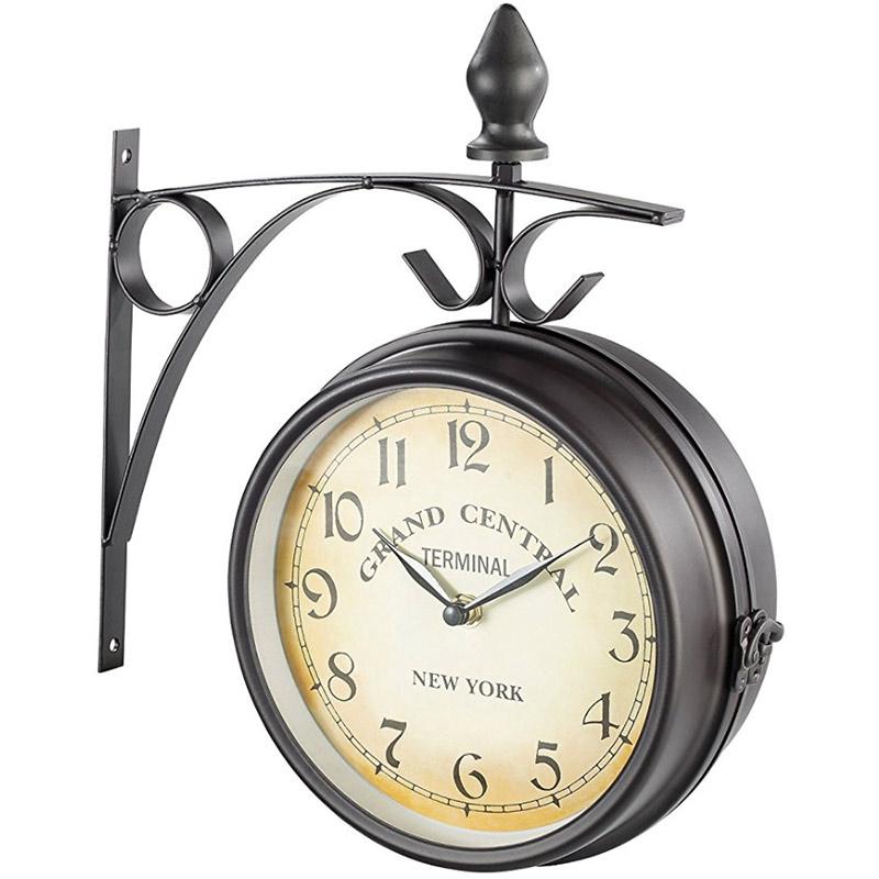 horloge de gare avec pendule et thermom tre. Black Bedroom Furniture Sets. Home Design Ideas