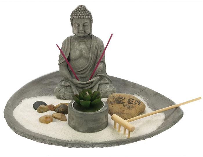 Jardin zen bouddha plateau rond sable blanc porte bonheur for Jardin zen bouddha