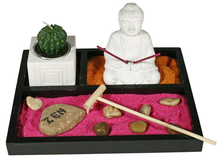 Jardin zen color bouddha avec cactus encens bougie - Cactus porte bonheur ...