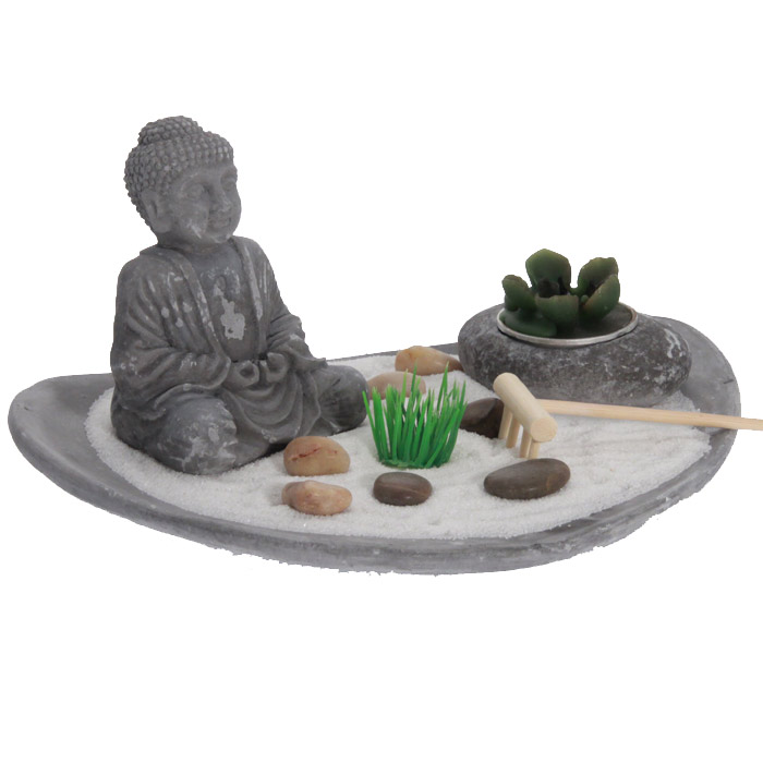 Jardin zen plateau bouddha avec bougie for Bouddha jardin zen
