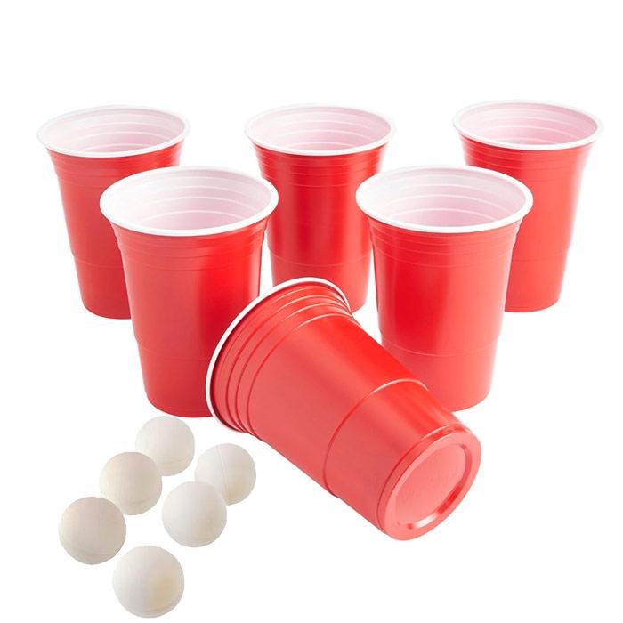 jeu beer pong gobelets rouges plastique r utilisables. Black Bedroom Furniture Sets. Home Design Ideas