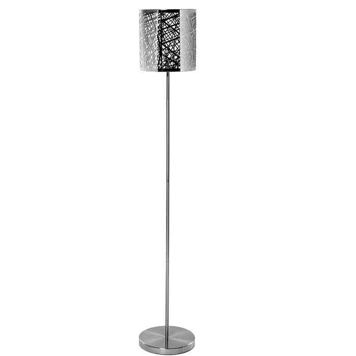 grand lampadaire design avec pied en inox et abat jour ajour de m tal. Black Bedroom Furniture Sets. Home Design Ideas