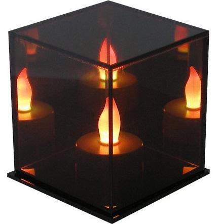 lampe de d coration cube avec bougie led qui change de couleurs. Black Bedroom Furniture Sets. Home Design Ideas