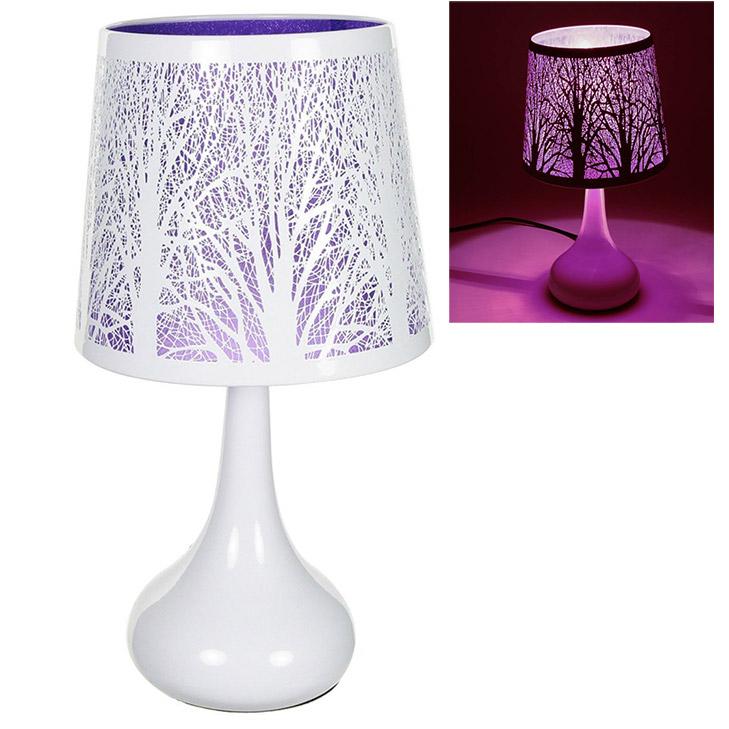 Lampe tactile touch avec motifs papillons ou arbres - Lampe de chevet violet ...