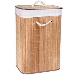 Panier à Linge Rectangulaire Pliable en Bambou