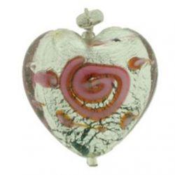 Pendentif Coeur en verre soufflé d'une feuille d'argent