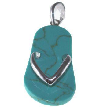Pendentif Tong Turquoise et Argent