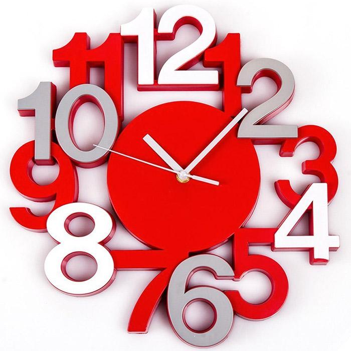 Pendule murale horloge design chiffres gris rouge for Pendule de cuisine rouge