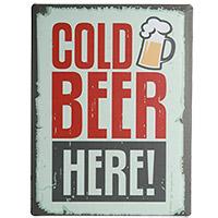 Plaque Métal Bière Cold Beer 30x40 cm
