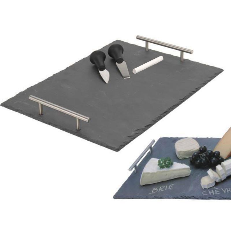 plateau fromage en ardoise rectangulaire id al aussi pour desserts ap ritifs. Black Bedroom Furniture Sets. Home Design Ideas