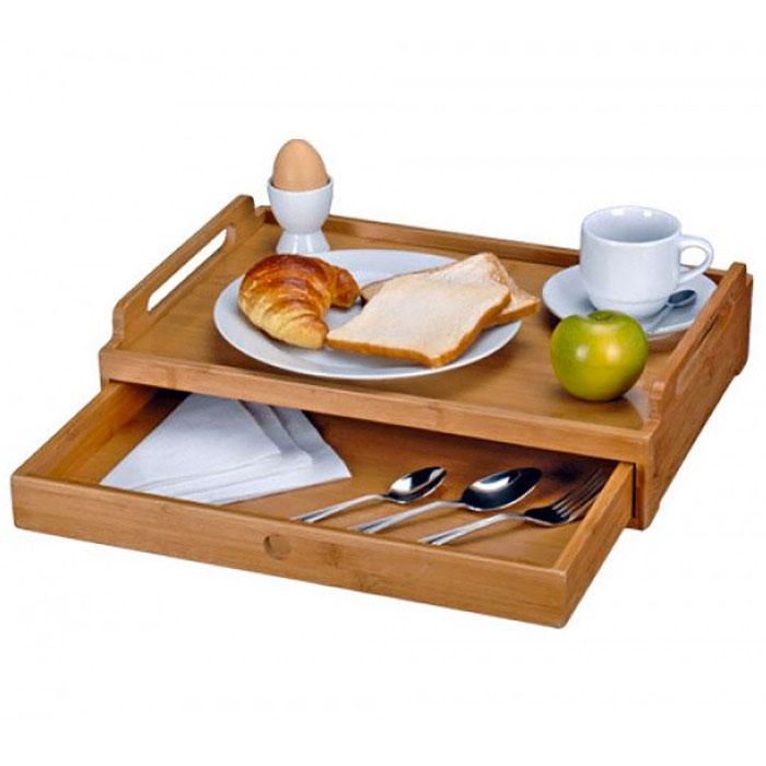 Plateau bambou avec tiroir pour repas tv ou petit d jeuner - Table de petit dejeuner au lit ...