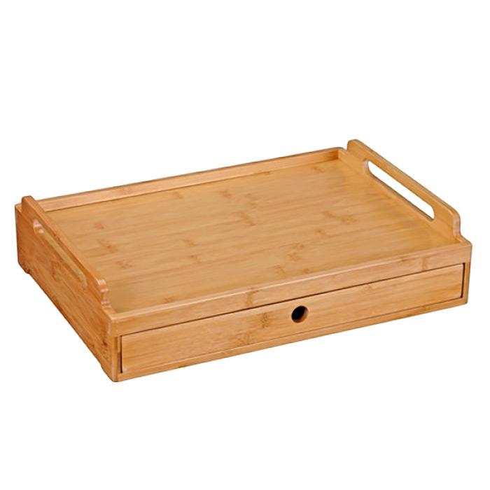 plateau bambou avec tiroir pour repas tv ou petit d jeuner au lit. Black Bedroom Furniture Sets. Home Design Ideas