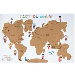 Carte du Monde à Gratter XXL 60X40 cm avec Couleurs