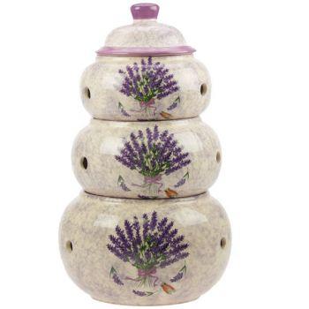 Set de 3 pots en céramique lavande pour ail, oignons ...