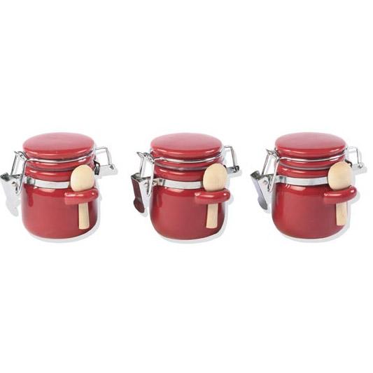 3 pots pices en c ramique avec mini cuill res. Black Bedroom Furniture Sets. Home Design Ideas