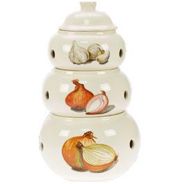 Set de 3 Pots pour Ail, Oignons, Echalotes