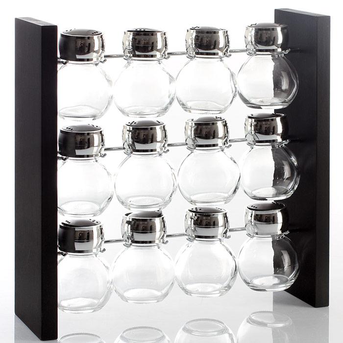 pr sentoir support pices 12 pots bois m tal et verre. Black Bedroom Furniture Sets. Home Design Ideas