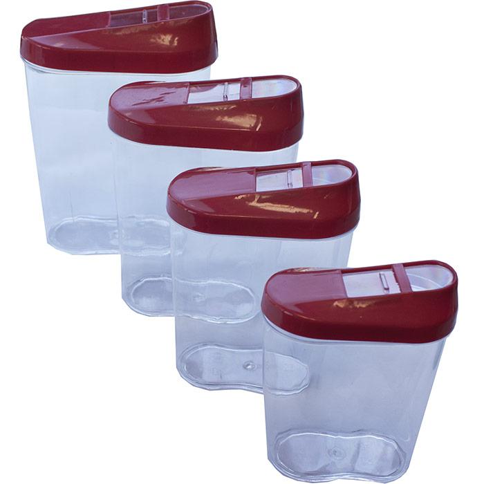 4 boites de conservation alimentaires en plastique noir rouge ou blanc. Black Bedroom Furniture Sets. Home Design Ideas