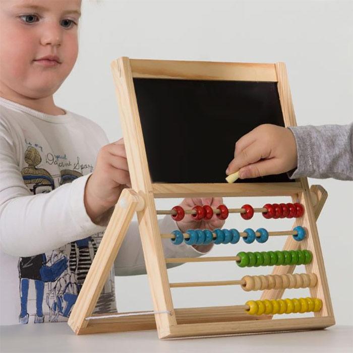 tableau ardoise noir enfant avec boulier chiffres. Black Bedroom Furniture Sets. Home Design Ideas