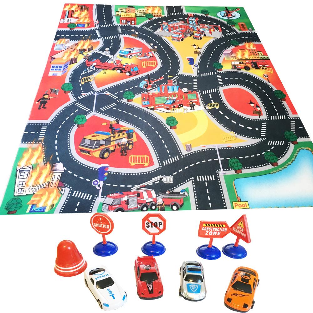 Tapis De Jeu Circuit Voiture Enfant Pompiers 80 Cm X 70 Cm Ebay