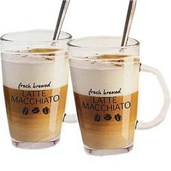 2 Verres à Latte Macchiato avec Cuillères
